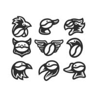 set of coffee seeds with some animal heads. vector illustration. logo icon