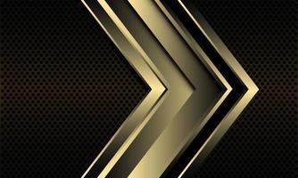 Abstract golden black line arrow direction on dark metallic circle mesh design modern luxury futuristic technology background vector illustration
