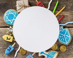 Top view Hanukkah concept with copy space photo