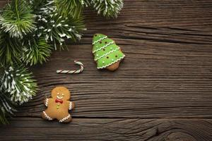 Top view gingerbread man with copy space photo
