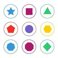 Colorful 2D Shapes Icon Set vector