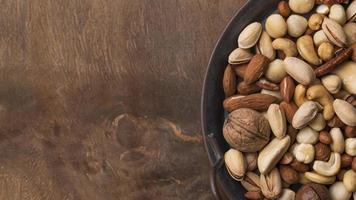 Top view organic nuts snack photo