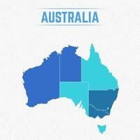 Australia Detailed Map With Regions vector