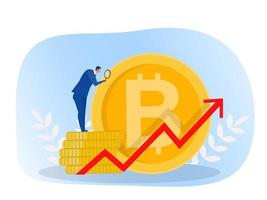 Businessman with Magnifying glass enjoys the increase in Bitcoin prices. Financial concept. Vector illustration.