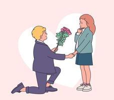 historia de amor o concepto de día de San Valentín. niño que presenta un ramo de rosas a su pequeña novia mientras está de pie sobre la rodilla. ilustración de estilo de línea moderna vector