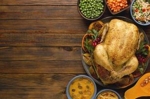 Top view Thanksgiving concept with copy space photo