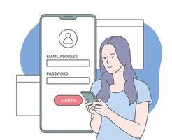 registro en línea y concepto de registro. mujer joven que se registra o inicia sesión en una cuenta en línea en la aplicación de teléfono inteligente. interfaz de usuario. inicio de sesión y contraseña seguros. vector