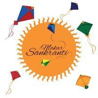 festival indio makar sankranti con tambor creativo y hermosas cometas vector