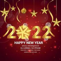 Happy new year celebration with golden text effect on creative background vector