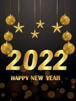 Invitation party flyer of happy new year 2022 with golden party balls vector