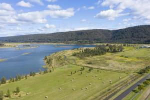 Aerial photograph of a large fresh water reservoir near Castlereagh in New South Wales in Regional Australia photo