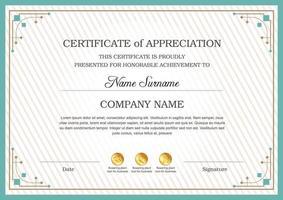 plantilla de certificado de reconocimiento, borde de certificado multipropósito con diseño de placa vector