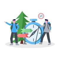 Flat vector illustration of mountain climber camping with his partner