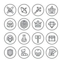 Game line icons set, RPG, fantasy, knight, magic wand, bow, castle, helmet, armor and potion vector