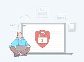 Data breaches, data leakage prevention concept. Personal digital security. Defence, protection from hackers, scammers. Flat vector illustration