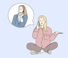 asistencia al cliente, centro de llamadas, concepto de operador de línea directa. mujer conversación móvil con soporte consultor de operador de mujer joven con auricular. vector