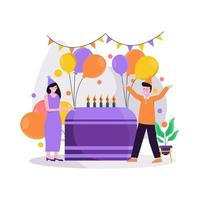 Flat vector illustration of festive birthday celebration with balloons and gifts