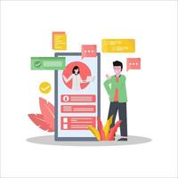 Flat vector illustration of online meetings via electronic device