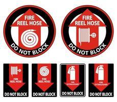Fire Reel Hose Do Not Block Sign on white background vector