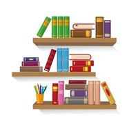 Three bookshelves with different colorful books vector