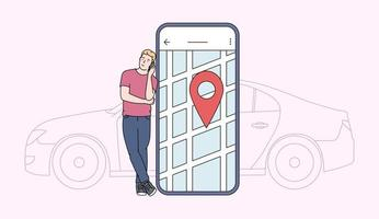 Car sharing and online application concept. Young man near smartphone screen with route and location point on a city map with car background. Flat vector illustration