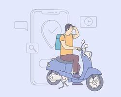 concepto de servicio de entrega en línea. Clientes que realizan pedidos en la aplicación móvil, el motociclista va de acuerdo con el mapa gps. vector