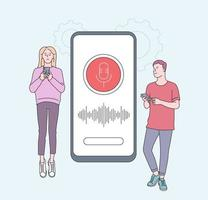 Smart speaker, voice assistant concept with characters. Young people with gadgets near smartphone. Speaker recognition, voice controlled smart speaker. Voice activated digital assistants, identification. vector
