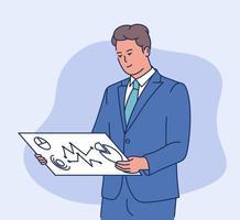 concepto de negocio de información de datos. joven hombre de negocios inteligente analizar información de datos en la pantalla. ilustración vectorial plana vector