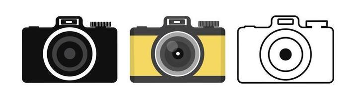 Camera icon in flat style set vector