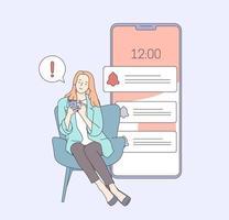 mujer abrumada por el concepto de notificaciones de internet. mujer planificando una cita para programar el día en la aplicación telefónica. ilustración vectorial plana. vector