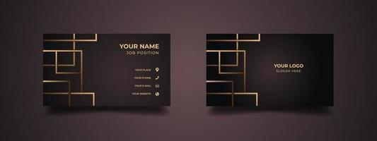Business card design with creative modern abstract golden lines. Abstract background with dark maroon color. Vector illustration ready to print.