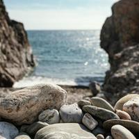 Beautiful view of rocks at the seaside photo