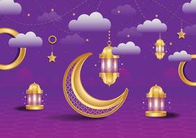 Islamic background or banner with clouds full editable template vector