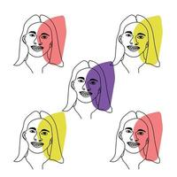 Abstract woman face drawing line art seamless pattern wallpaper vector