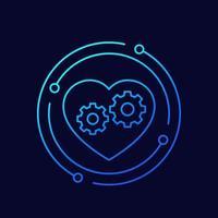 icono de línea delgada de biotecnología con corazón y engranajes vector