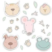 Cute animals. Mouse, cat, dog, frog. Children design for postcard, stickers. vector