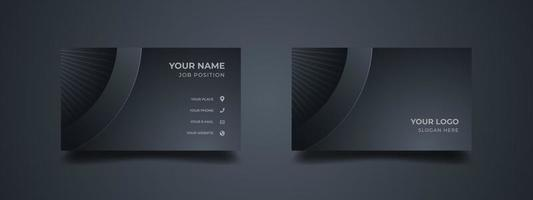 Elegant business card design. Abstract dark black grey with geometric shape. Vector illustration print template.