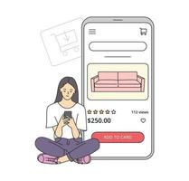 E-commerce on smartphone concept. Young woman makes purchases via phone online, choosing product. Shopping cart with furniture. vector