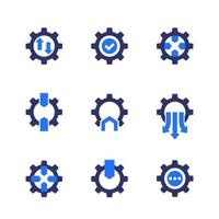 Integration icons with gears, vector
