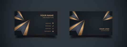 Business card with abstract 3d polygonal shape in elegant golden color. Abstract diamond background with the dark banner for corporate or company. Ready to print vector illustration.