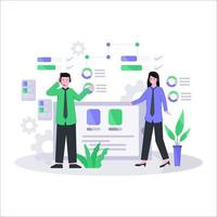Flat vector illustration of customer service concept via telephone and live chat