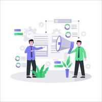 Flat vector illustration of customer service concept