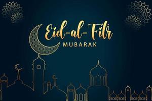 Modern Eid al fitr mubarak greeting card design vector