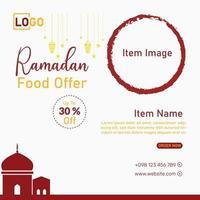 Ramadan food sales social media marketing post flyer design vector