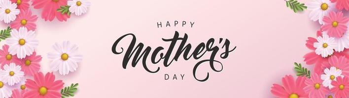 Mothers day banner background layout with flower.Greetings and presents for Mothers day in flat lay styling.Vector illustration template. vector