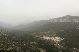 Mountains on a foggy day photo