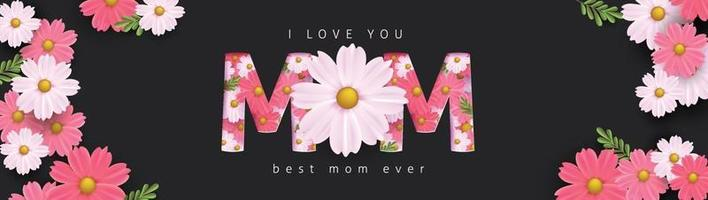 Diseño de fondo de banner del día de la madre con flores.Saludos y regalos para el día de la madre en plantilla de ilustración de estilo plano lay.vector. vector
