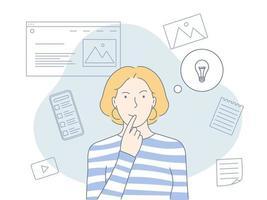 concepto de profesiones creativas. proceso de pensamiento, búsqueda de ideas y trabajo en el proyecto. concepto de negocio. ilustración vectorial plana. vector