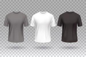camiseta frontal blanco negro y gris plantilla de maqueta de diseño de color aislado. vector