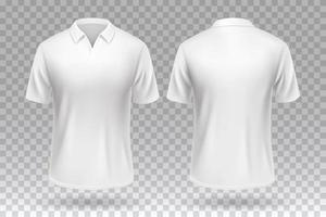 White blank T-shirt front and back template mockup design isolated. vector